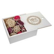 Подарочная коробка деревянная белая 108 специй, 24,3*24,3*8 см